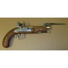 Brass Barreled Blunderbuss Pistol with Spring Bayonet